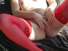 Sexy Redhead Shows Off New Stockings Thumb