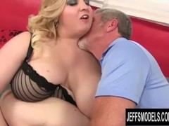 Blonde BBW Nikky Wilder Uses Her Big Assets to Pleasure an Old Man Thumb