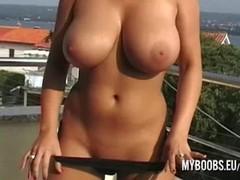 Busty babe Kora Kryk naked on public in Croatia Thumb