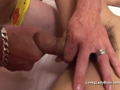 Innocent Asian ladyboy gets cumfaced Thumb