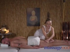 Massage Rooms Petite nymph gives blowjob and hand job to make cock tremble Thumb
