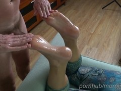 Foot massage, foot fucking and cumming on wife's soles - footjob Thumb