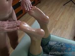 Foot massage, foot fucking and cumming on wife's soles - footjob Thumb