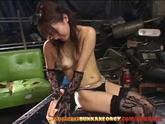 Classy Japanese babe gets covered with cum - Japanese Bukkake Orgy Thumb
