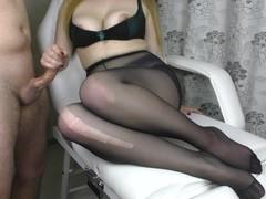 Teen Big Ass and Big Tits in Pantyhose - footjob, handjob, cum on feet Thumb