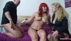 German Redhead Mature Wife at First FFM Threesome in Casting Thumb
