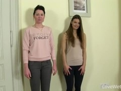 2 girl pee holding contest end with pee pants Thumb