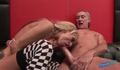 Two young babes get banged on a sports car by two older guys Thumb