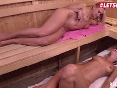 LETSDOEIT - Kinky Lesbian Seduces Straight MOM in The Sauna Thumb