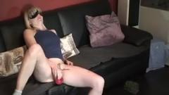 Amateur blonde MILF masturbates with dildo from stranger Thumb
