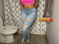 Didn't feel like using the toilet | ebony jeans wetting Thumb