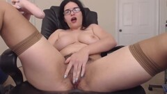 Hairy squirter Ann in tan stockings Thumb