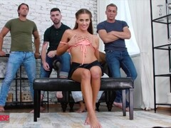 Doghouse - Petite spinner Eveline Neill gets gangbanged by 4 cocks and dped Thumb