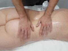 Sensual oil massage turns into rough doggystyle fuck on table. Dripping creampie Thumb