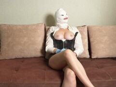 bossy mistress in rubber gloves fucks slave in the ass Thumb
