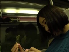 Asian Lady Remote Vibrator on Train and Blow Job Thumb